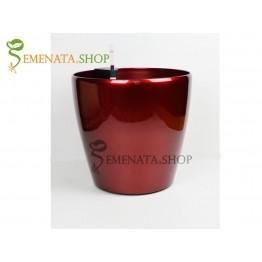 Атрактивна саксия с напителна система в цвят Винено червен - Ф36.5/H35.7 см