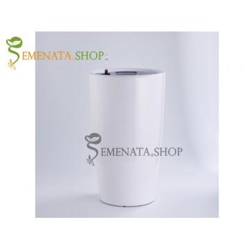 Стилна бяла саксия с напителна система - Ф39/H76.7 см