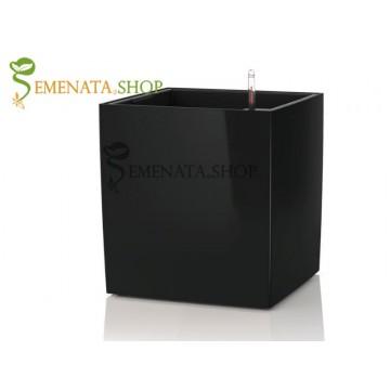Саксия с квадратен отвор и напоителна система в черно - 27/27/H33.2 см