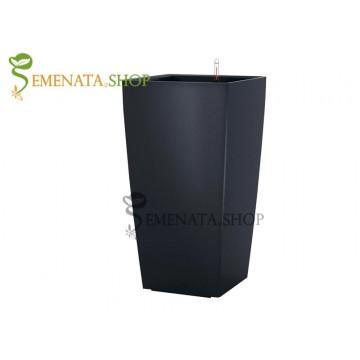 Луксозна черна саксия с напителна система - 28.5/28.5/H54 см