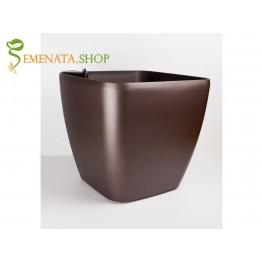 Изчистена саксия с напоителна система в цвят кафе - 36.5/36.5/H35.5 см
