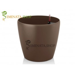 Атрактивна саксия с напителна система в цвят Кафе (кафяво) - Ф36.5/H35.7 см