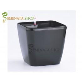 Изчистена саксия с напоителна система в цвят антрацит - 36.5/36.5/H35.5 см