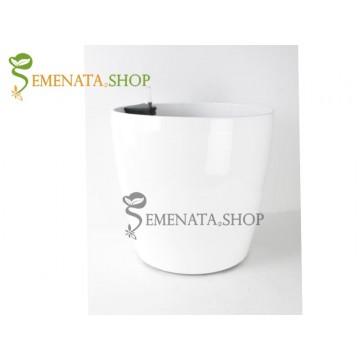 Атрактивна саксия с напителна система в бял цвят - Ф36.5/H35.7 см