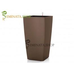 Луксозна кафява саксия с напителна система - 28.5/28.5/H54 см