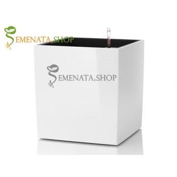 Саксия с квадратен отвор и напоителна система в бяло - 27/27/H33.2 см