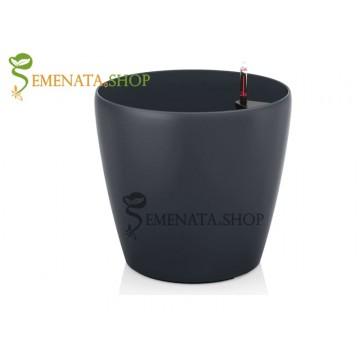 Атрактивна саксия с напителна система в цвят антрацит - Ф36.5/H35.7 см