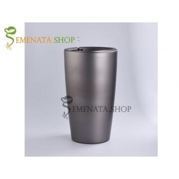 Стилна сива саксия с напителна система - Ф39/H76.7 см