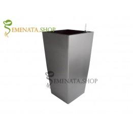 Луксозна сива саксия с напителна система - 28.5/28.5/H54 см