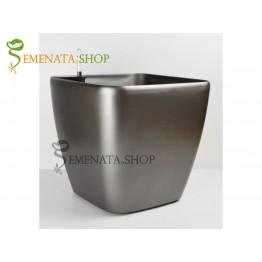 Изчистена саксия с напоителна система в цвят сив- 36.5/36.5/H35.5 см