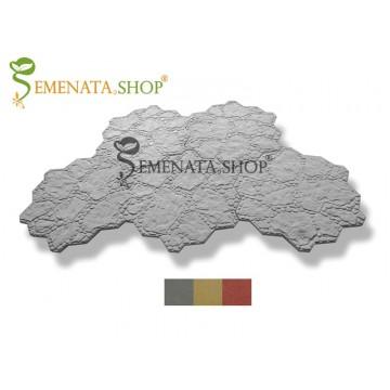 Ръчно приготвени плочки от пластичен бетон 80/80/3 см - модел с шарка естествен Градински камък