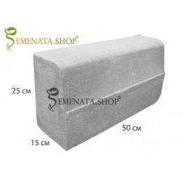 Вибропресован гладък бетонов бордюр 50/15/H25 см