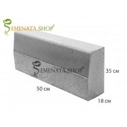 Вибропресован гладък бетонов бордюр 50/18/H35 см