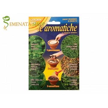 Семена на дискове с подправки Кориандър, Босилек, Мащерка, Магданоз, Див Кервиз и Шивес