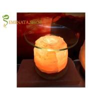 Арома електрическа лампа от за етерични масла от Хималайска сол -1,5 кг с дървена основа