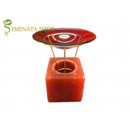 Арома свещник за етерични масла куб от Хималайска сол - 800 гр.
