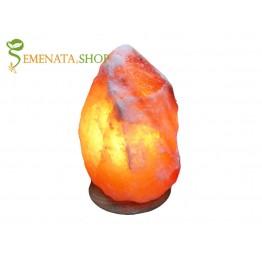 Интериорна лампа за бюро от сол хималайска 2-3 кг с дървена основа