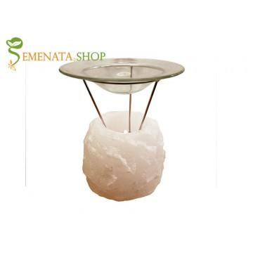 Уникален свещник за ароматни масла от бяла Хималайска сол 800 гр.